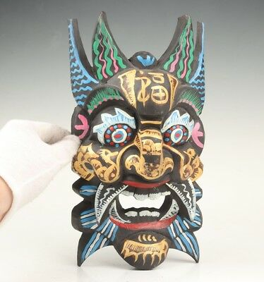 Vintage Wooden Hand-Carved Mask Statue Wall Hanging Decoration Old Collection
