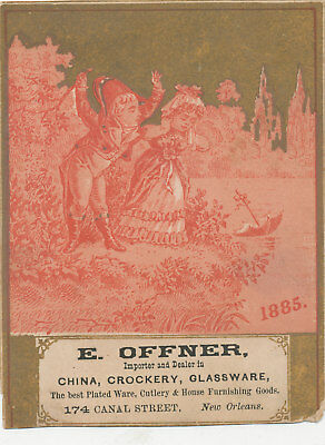 C9621 Victorian Trade Card E Offner China Crockery New Orleans