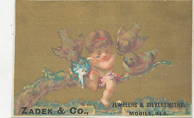 C9638  Victorian Trade Card Jewelry Watches  Zasen Co Mobile Alabama