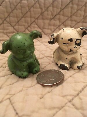 Set Of 2 Vintage Cast Iron Dog Paperweights,white/Green Hines