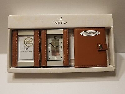 Bulova B1287 In Box Picture Leather Frame Collection Clock with Wallet Set