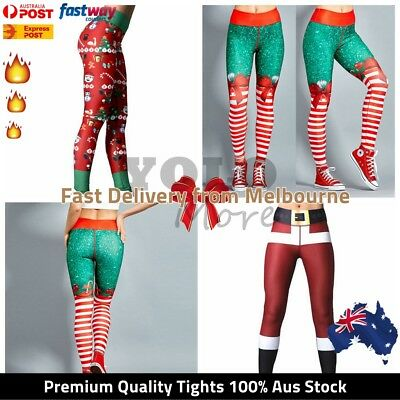 XMAS Leggings Womens Christmas Elastic Snowflake Pants Stocking Legging AUS