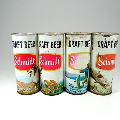 Vintage Schmidt 16oz Beer Cans Lot of 4 Empty - FREE SHIPPING