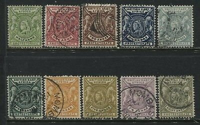 British East Africa QV 1898 1/2 anna to 8 annas used less 1 anna deep rose