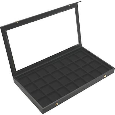 FindingKing 32 Earring Jewelry Display Case Clear Top Black New