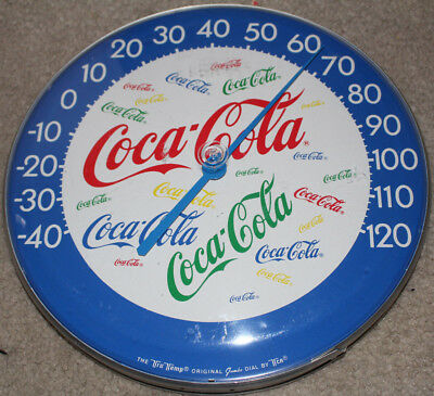 Coca Cola 12 Inch Thermometer Blue with Multi Color Logos