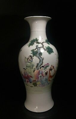 """Antique Chinese Famille Rose Porcelain Vase Hand Painted and Marked --Large 18"""""""