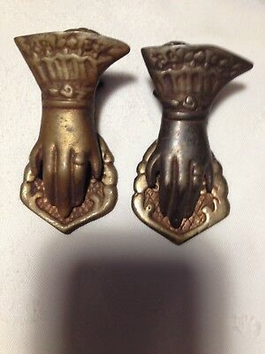 Set of 2 Vintage Brass Victorian Style Hand Shaped Paper Clips