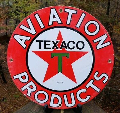 Vintage Texaco Aviation Products Porcelain Sign Airplane Texas Motor Oil Can Car