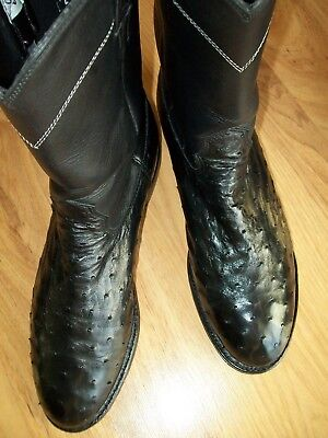 Larry Mahan Full Quill Ostrich Cowboy Boots - Men's 9 D - Black  NICE