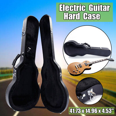 Portable Electric Guitar Hard Shell Case Carrying Bag Wood Leather Bulge Surface