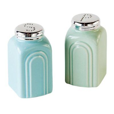 50s Retro Stoneware Salt and Pepper Shakers Set