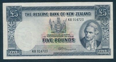 "New Zealand: 1960 £5 Fleming Thread PREFIX ""LETTER NO."" P160d GVF - Cat VF $100"