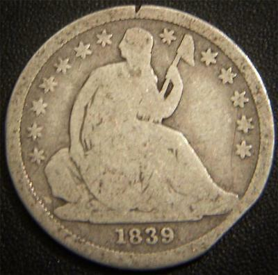 1839 Seated Liberty Dime - Majority of Major Details Are Distinctly Outlined