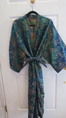 Women's Plus Size Authentic Blue Green Kimono