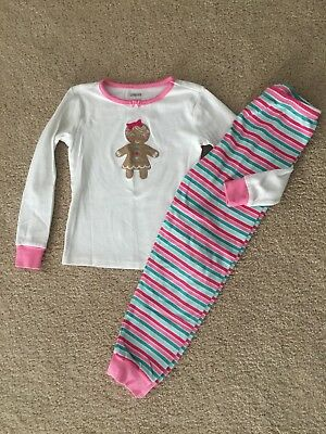 Gymboree Pink Striped Gingerbread Girl Christmas Holiday Gymmies Size 7