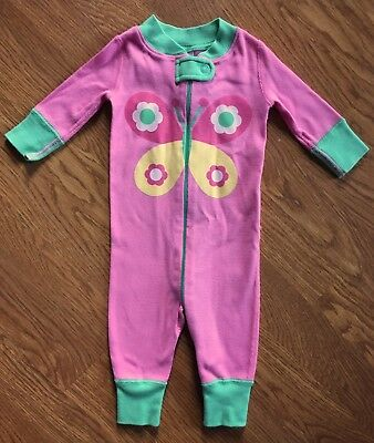 Hanna Andersson pajamas size 50 US 0-6 mos, girls one-piece pink butterfly EUC!