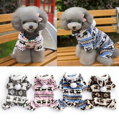 Pet Dog Winter Warm Hoodie Coat Clothes Puppy Jumpsuit Xmas Snowflake Apparel US