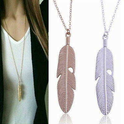 Women Feather Pendant Long Chain Necklace Sweater Statement Retro Jewelry Gifts