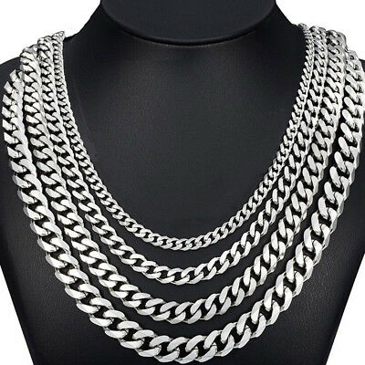 MENS Stainless Steel 4/9/11mm Silver Tone Cuban Curb Chain Necklace Hip Hop USA