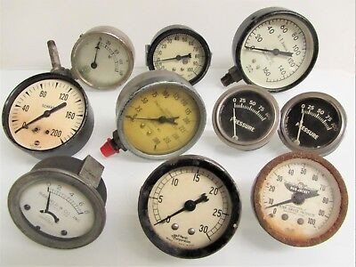 Vintage CAR MECHANICAL GAUGES Lot of 10 Pressure WATER Temperature UNTESTED