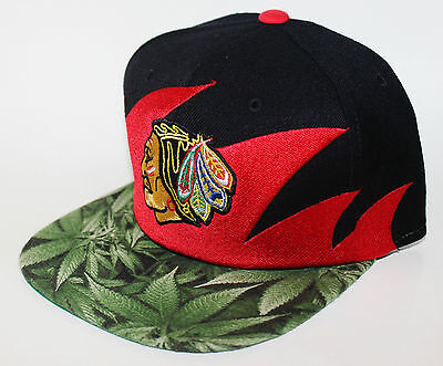 PICK1 Chicago Blackhawks Lime Weed/Kush Brim Mitchell & Ness SnapBack Black/Red
