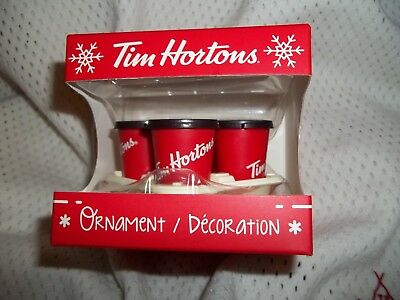 2018 Tim Horton's Canada Christmas Tree Ornament Coffee Cups Carry Out Tray