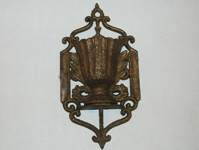 Antique Brass Mixed Metal Victorian Wall Pocket - Stamped 1869 NJ