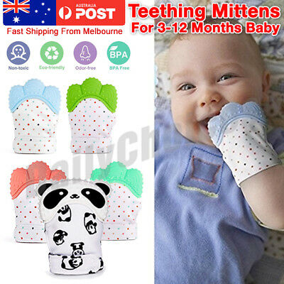 1/2X Silicone Baby Teether Teething Mitt Mitten Glove Safe BPA Free Chew Dummy T