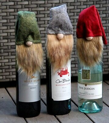 Santa Long Hat Beard Christmas Wine Bottle Cover Claus Table Decor Felt Red FUR