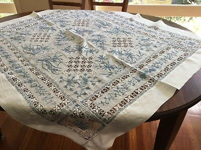 Vintage Hand Embroidered Supper Cloth~Blue & White