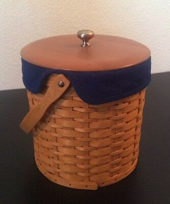 Longaberger 2003 ICE BUCKET COMB0 BASKET W/LID, INSERT, BLUE Fabric Liner