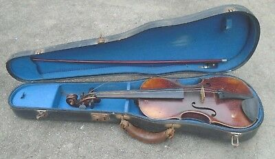 antique German student size  violin for repair with bow and case