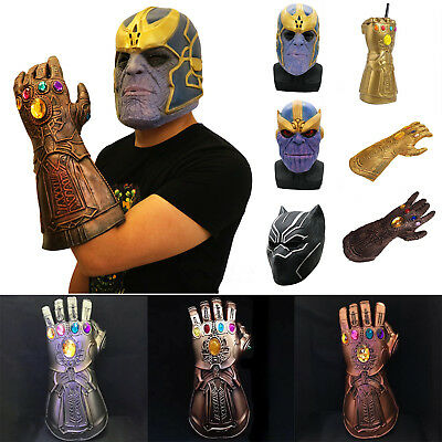 The Avengers War Thanos Infinity Gauntlet Glove Black Panther Mask Cosplay Gifts