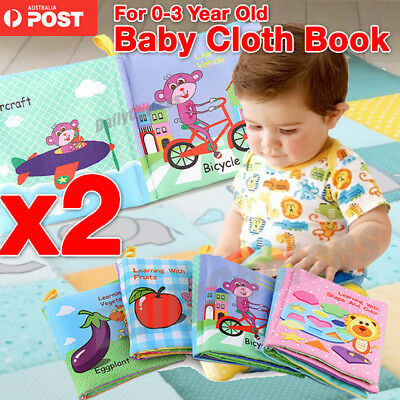 2 Baby Soft Cloth Book Kid Early Educational Cartoon Book Toy Kid Developing Toy