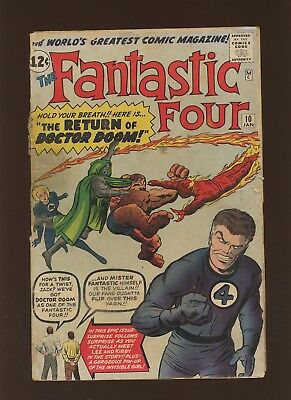 Fantastic Four 10 GD 1.8 * 1 Book * Marvel! Stan Lee & Jack Kirby 1st Cameo!