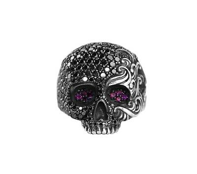 David Yurman Sterling Silver Black Diamonds Ruby Skull Ring Sz 9 New Box 24R
