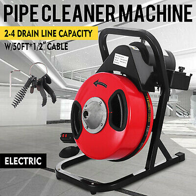 "50ft 1/2"" Drain Cleaning Machine Steel Cleaner Snake Sewer Clog 5 Cutters 250W"