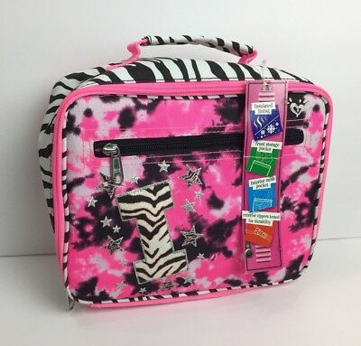 3af9ea7b8a71 NWT Justice Girls Zebra Tie Dye Black Pink Initial I Lunch Box Tote NEW