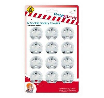 12 X Plug Socket Covers Babies Children's Safety Protector For 3 Pin UK Fit