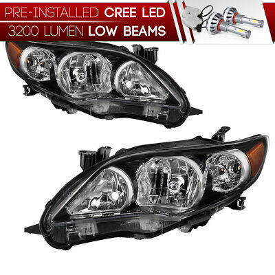 """Built-In LED Low Beam"" Factory Style Headlights Pair 2011-2013 Toyota Corolla"