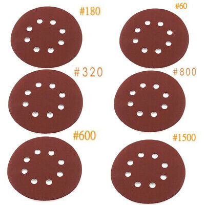 "30x 5"" 60/180/320/600/800/1500 Grit Sanding Sandpaper Disc Polishing Tool 8 Hole"