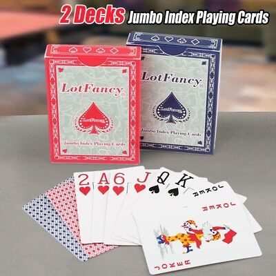 Decks of 2 Giant Jumbo Playing Cards Poker Index Magic Table Board Game