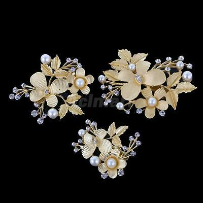 3xWedding women hair bride Accessories Gold Butterfly piece Clip Pin Bridal