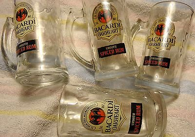 Set of 4 Bacardi Oakheart Rum Mugs - Heavy Glass - 14 Ounces...NEW