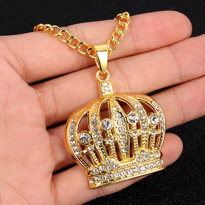 1Pcs Hip Hop Men Silver/Gold Plated Crystal Crown Pendant Chain Necklace Jewelry