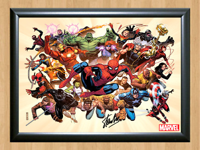 Stan Lee Marvel Heroes Comics Signed Autographed A4 Photo Poster Memorabilia 3