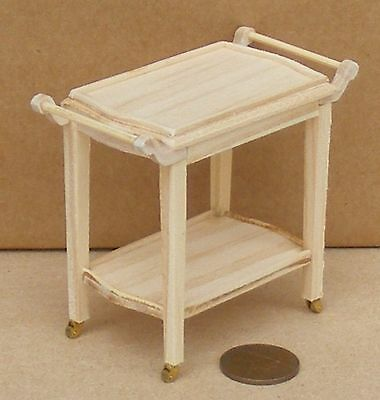 1:12 Scale Natural Finish Wooden 2 Tiered Trolley Tumdee Dolls House Accessory