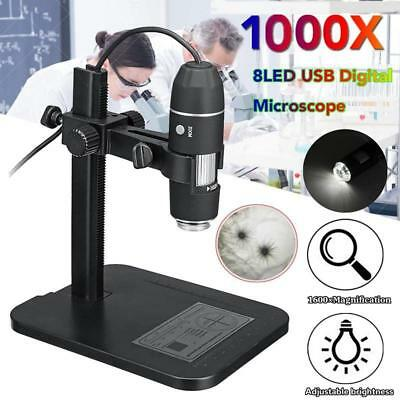 1000X USB Digital Microscope Endoscope Magnifier Electronic 8 LED + Lift Stand