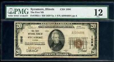 1929 Sycamore Il $20.00 T1 Charter 1896 And S/n A000409A Please Lqqk!!!*
